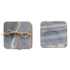 Gray Marble Coasters With Gold Finish Edges - Set of 4