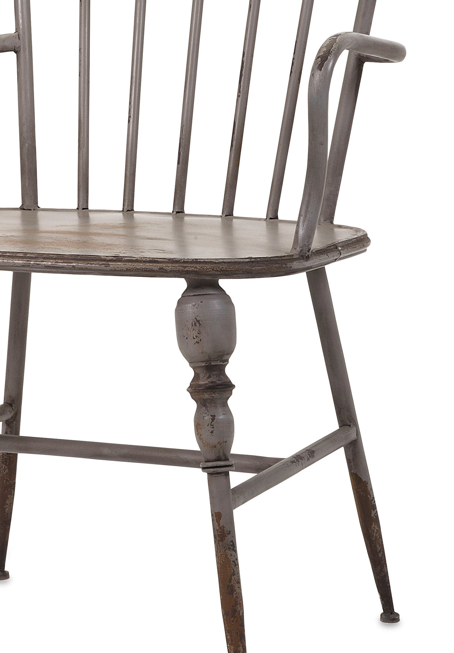 Rustic Gray Metal Farmhouse Industrial Modern Arm Chairs Set of