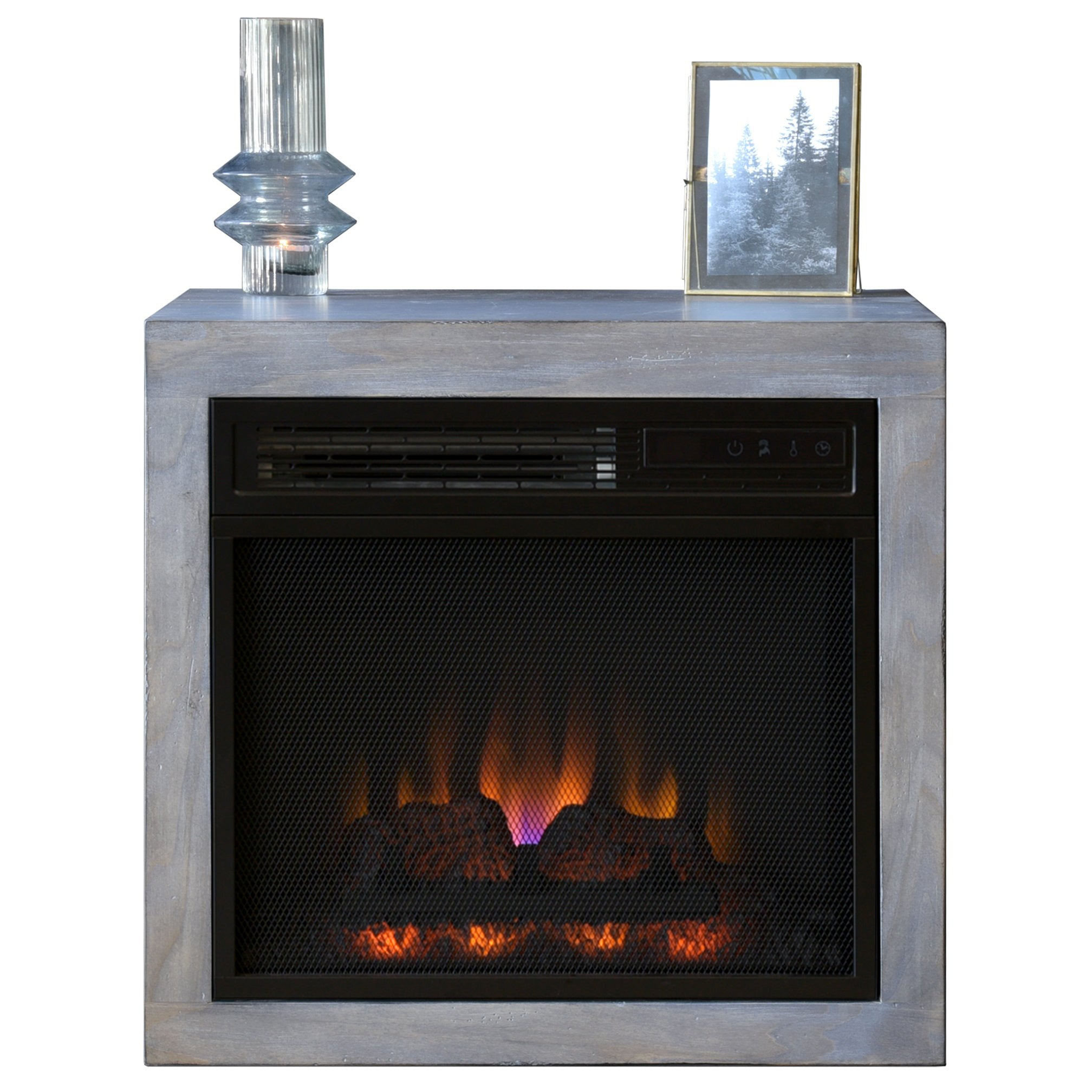 Gray Modern Floating Wall Mount Fireplace Electric Heater - ECO GEO - Lakewood