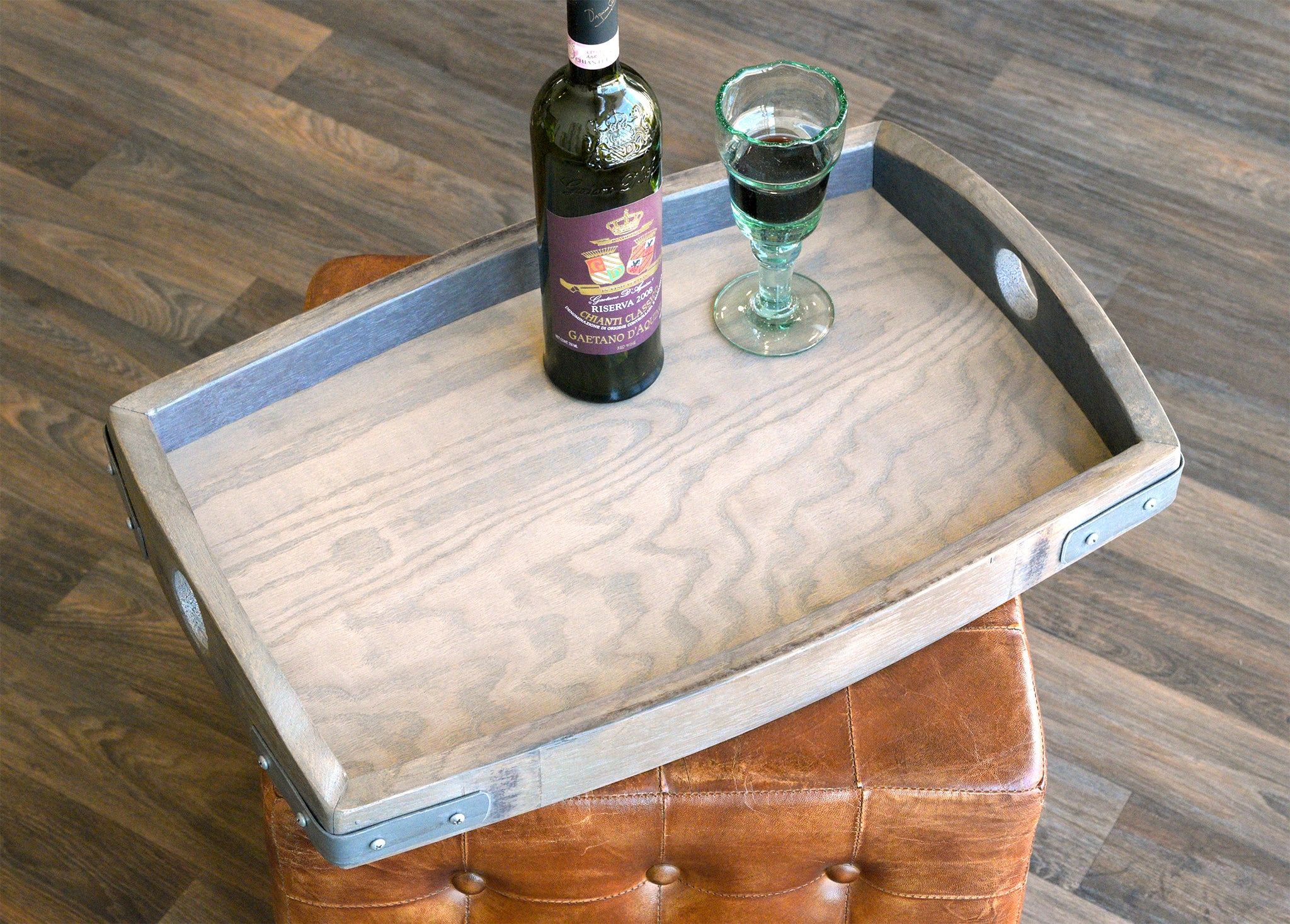 Gray Reclaimed Wood Repurposed Oak Wine Barrel Serving Tray