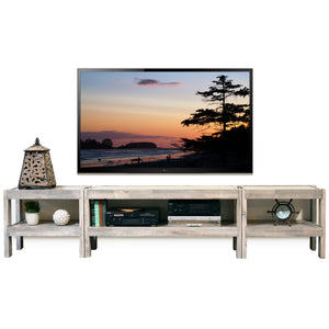 Gray Coastal Rustic Beach House Entertainment Center TV Stand - presEARTH Driftwood