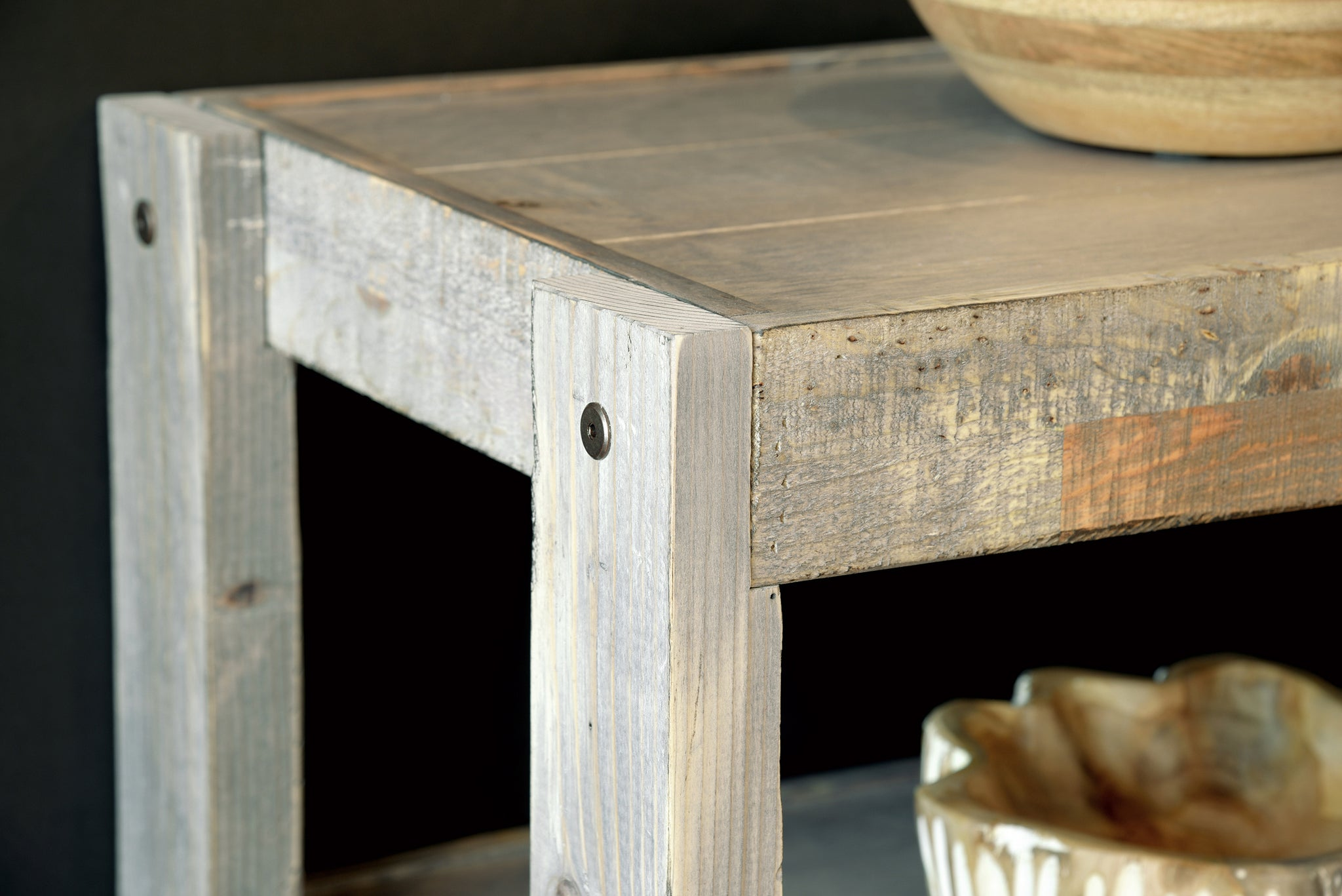 Gray Rustic Reclaimed Barn Wood Style Entertainment Center TV Stand & Coffee Table - presEARTH Lakewood