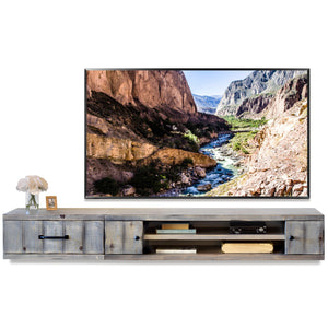 Gray Rustic Floating TV Stand Coastal Barn Wood Style Wall Mount Entertainment Center - Farmhouse - Lakewood