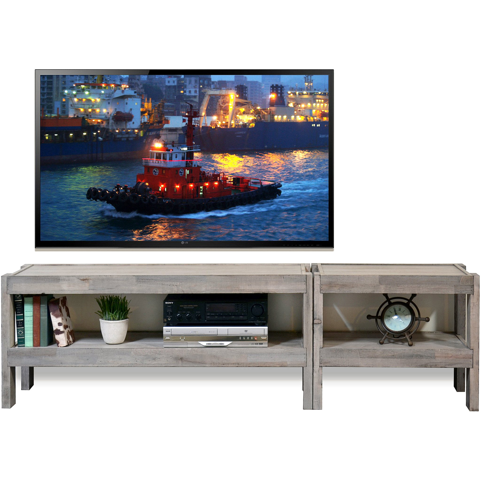 Gray Beach House Coastal TV Stand Entertainment Center - presEARTH Driftwood 2 Piece  sc 1 st  Woodwaves & presEARTH - Reclaimed Rustic Wood u0026 Coastal Style Furniture - Woodwaves