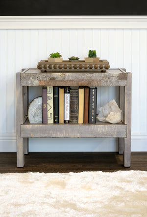 Gray Rustic Reclaimed Pallet Wood Style Beach House Coastal End Table Nightstand - presEARTH  Lakewood