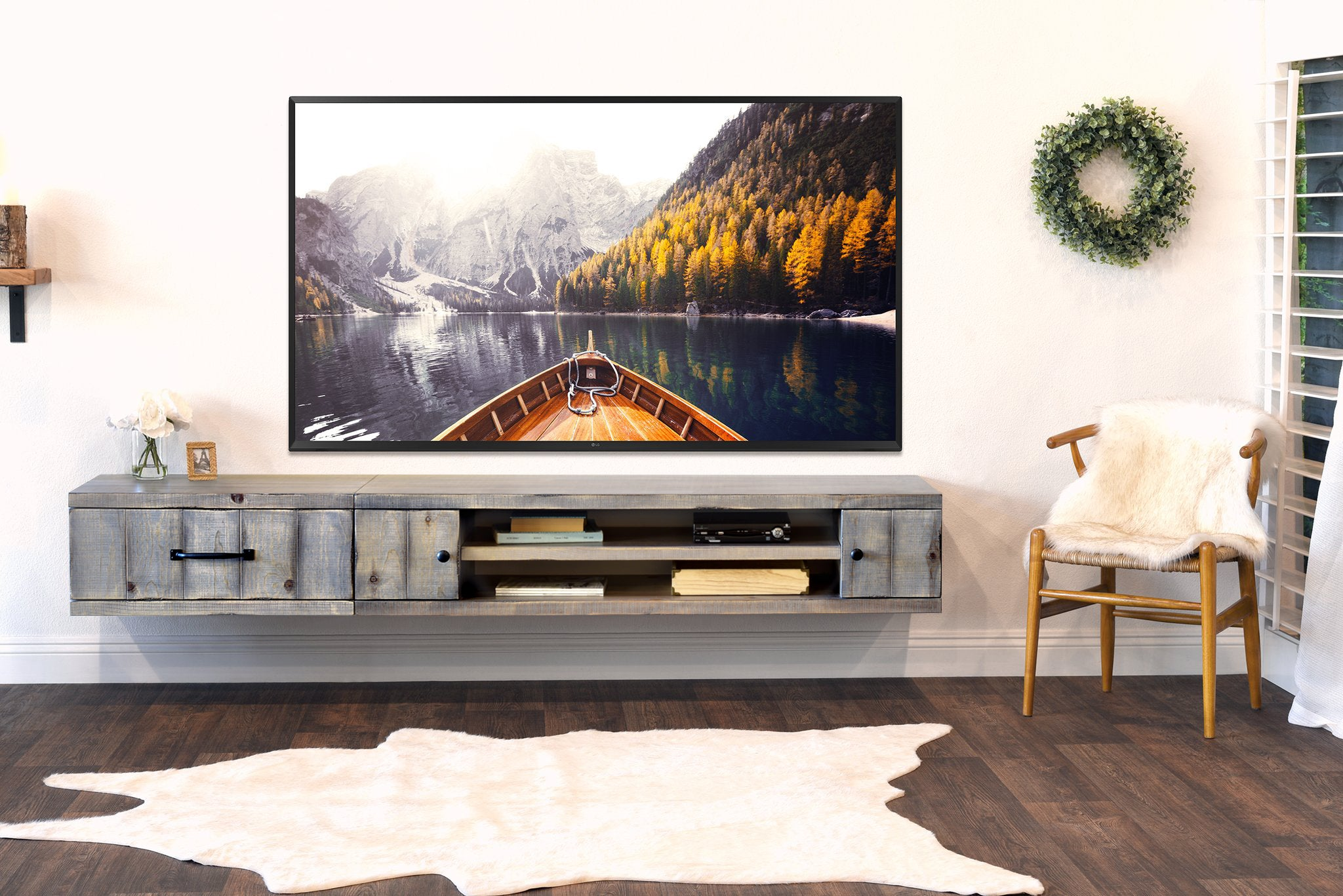 Gray Rustic Reclaimed Wood Style Floating TV Stand Wall Mount Entertainment Center Farmhouse Lakewood Woodwaves 2048x