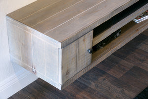 Gray Rustic Barn Wood Style Floating TV Stand - Farmhouse - Lakewood