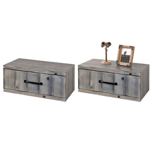 Gray Rustic Floating Nightstands Wall Mount Drawers - Farmhouse - Lakewood - Set of 2