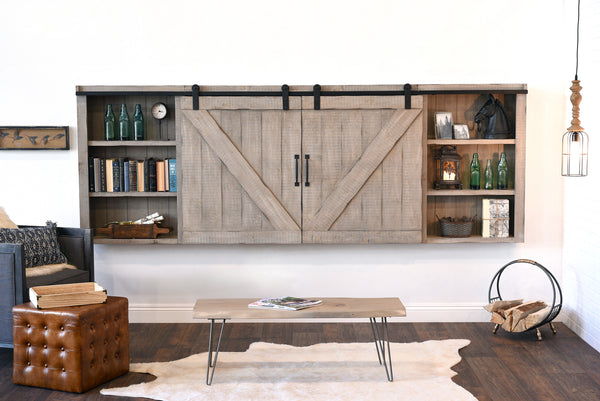 gray wall mount tv cabinet cover barn door farmhouse driftwood woodwaves. Black Bedroom Furniture Sets. Home Design Ideas