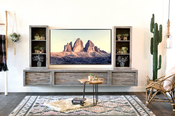 Gray Floating Tv Stand Modern Wall Mount Entertainment