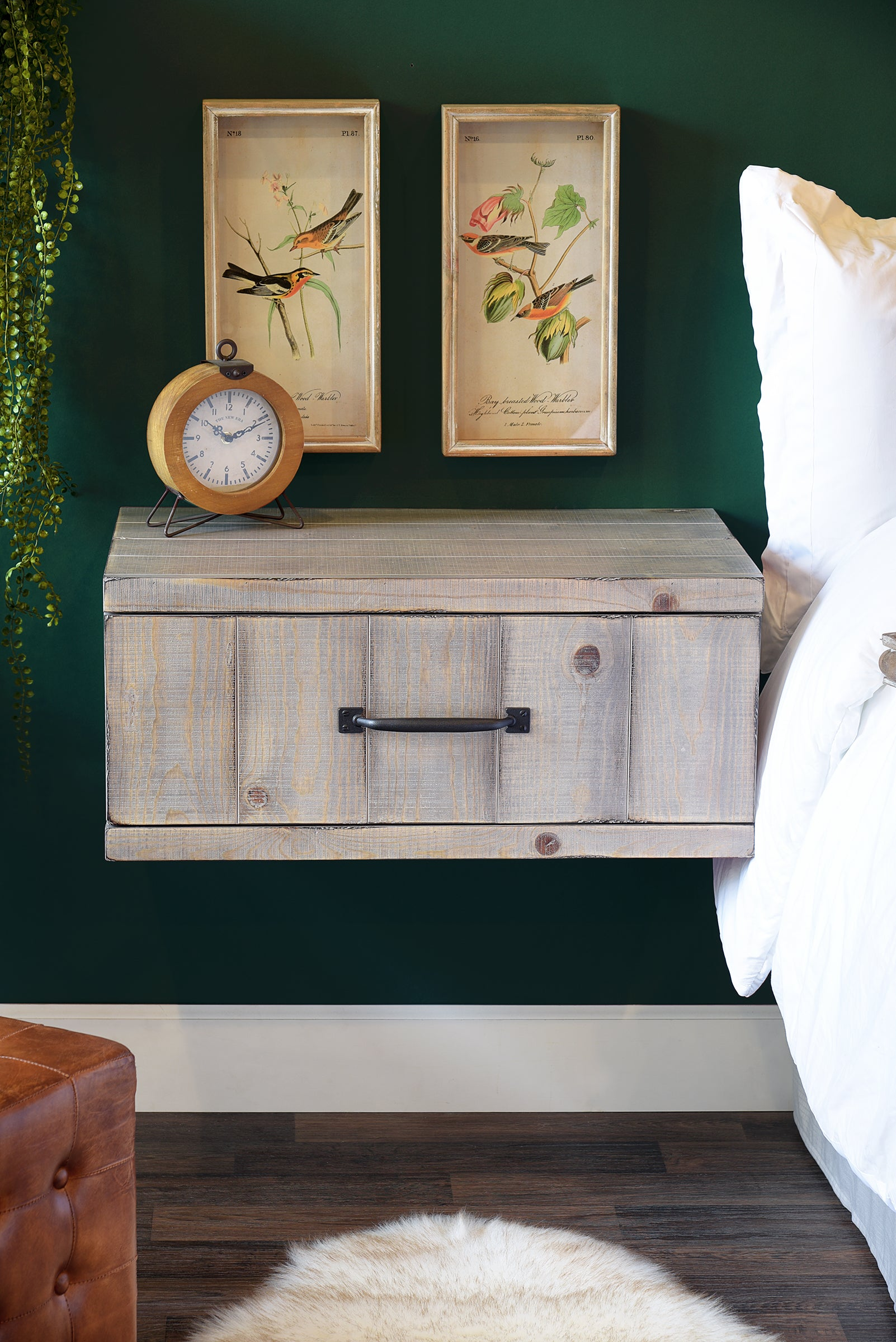 Gray Rustic Floating Nightstand Wall Mount Drawer Farmhouse