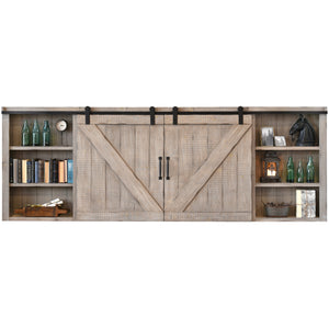 Gray Wall Mount TV Cabinet Cover Barn Door - Farmhouse - Driftwood