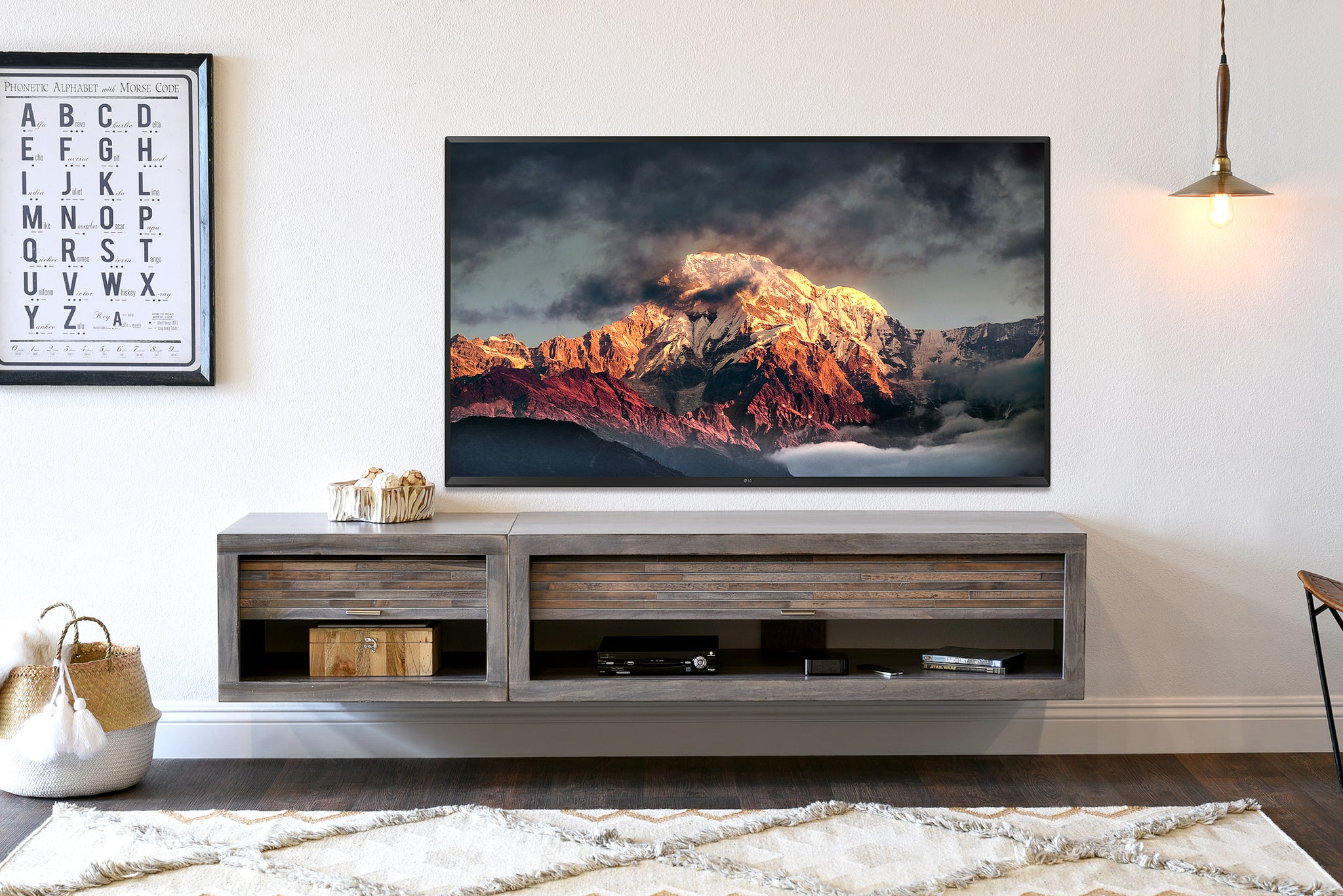 Gray Floating Tv Stand Entertainment Console Eco Geo Lakewood Woodwaves