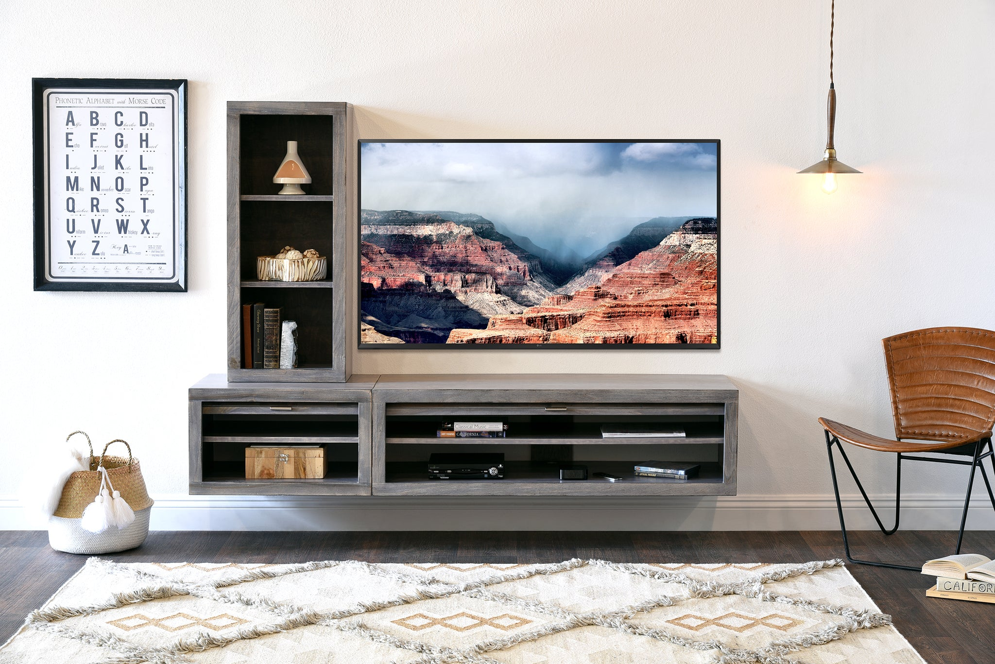 Gray Floating Wall Mount Tv Stand Entertainment Center