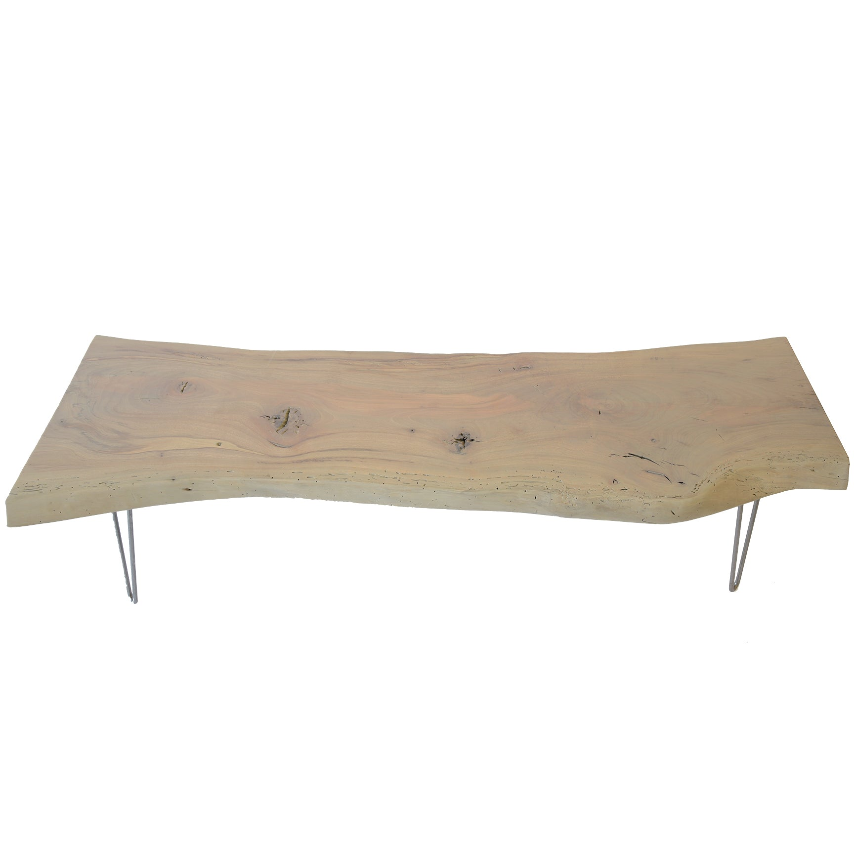 Gray Wash Live Edge Slab Coffee Table