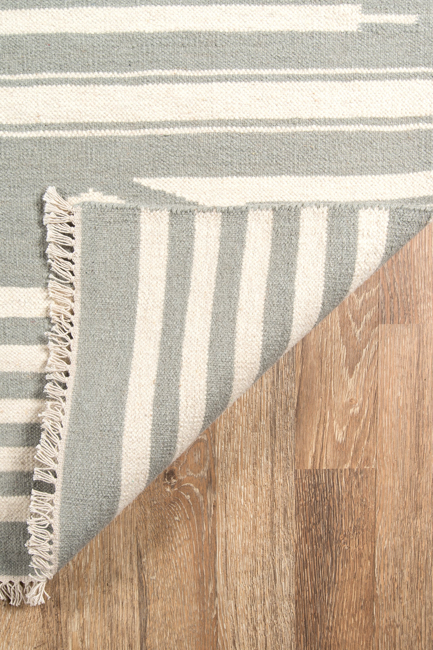 Gray and White Striped Southwest Flatweave Rug - Erin Gates - Thompson