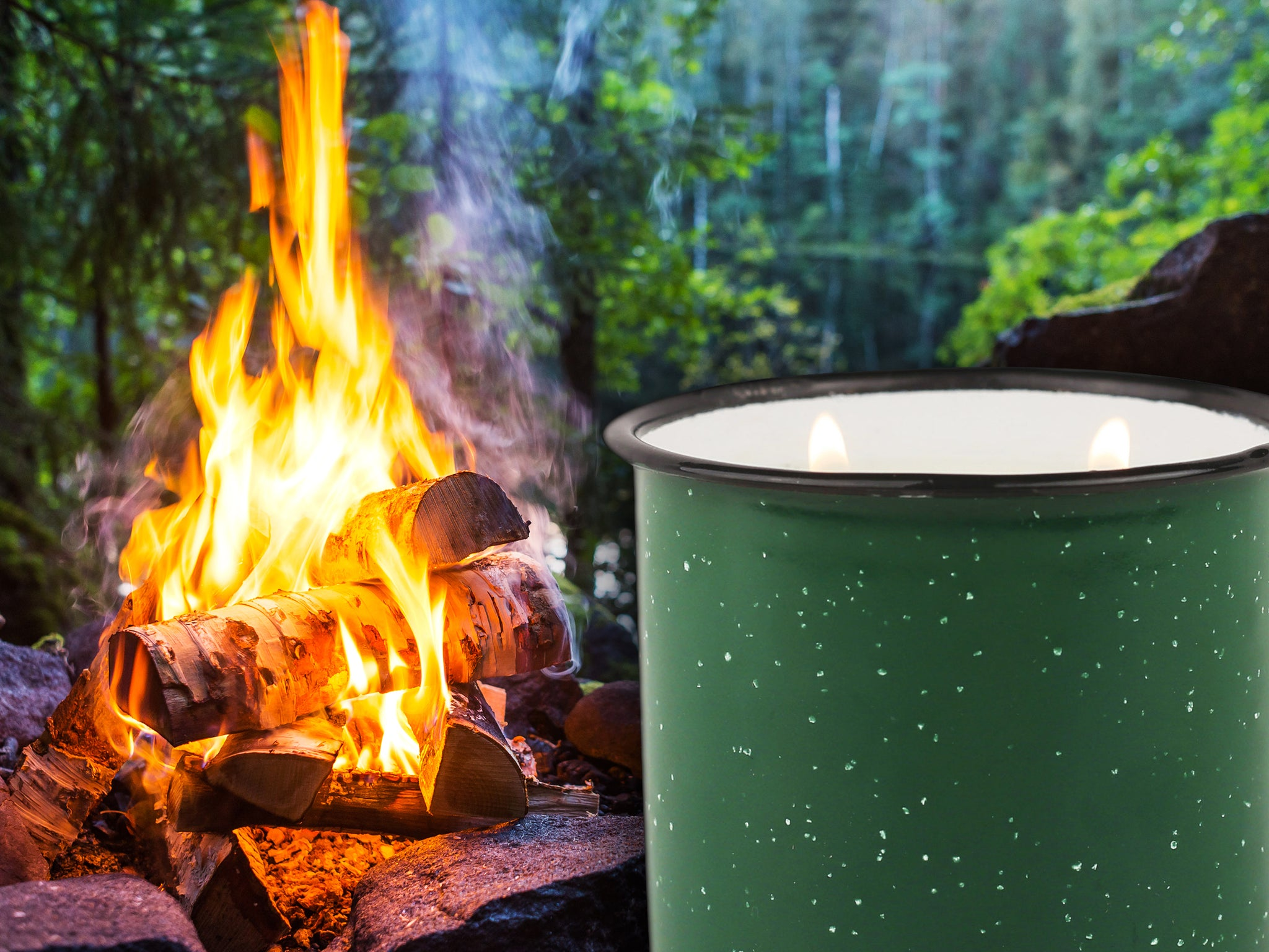 Green Enamel Camping Mug Candle - Evergreen & Embers - Woods Scented