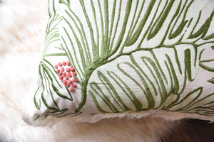 Boho Bohemian Green Tropical Leaf Red Berries Pillow