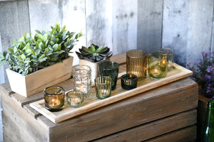 Green Glass Tealight Candle Holders With Wood Tray