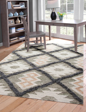 Green and Gray Southwest Boho Flatweave Wool Rug