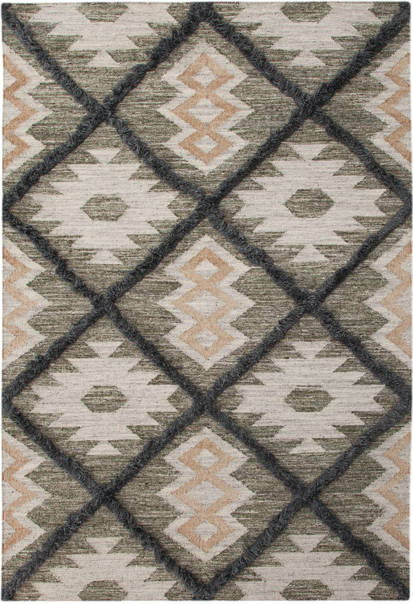 Green And Gray Southwest Boho Flatweave Wool Rug Woodwaves