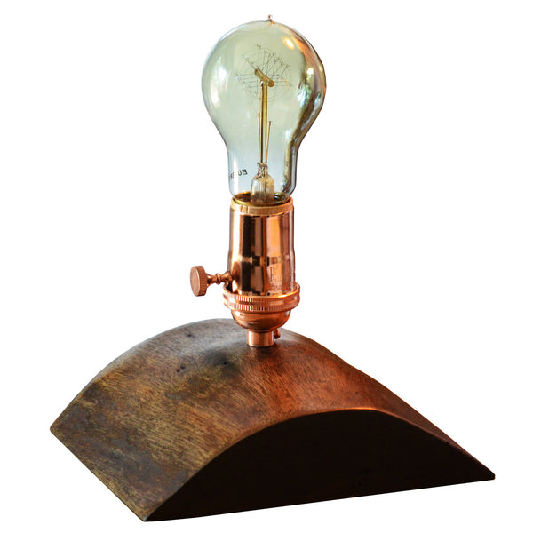 half dome reclaimed wood copper edison table lamp woodwaves. Black Bedroom Furniture Sets. Home Design Ideas