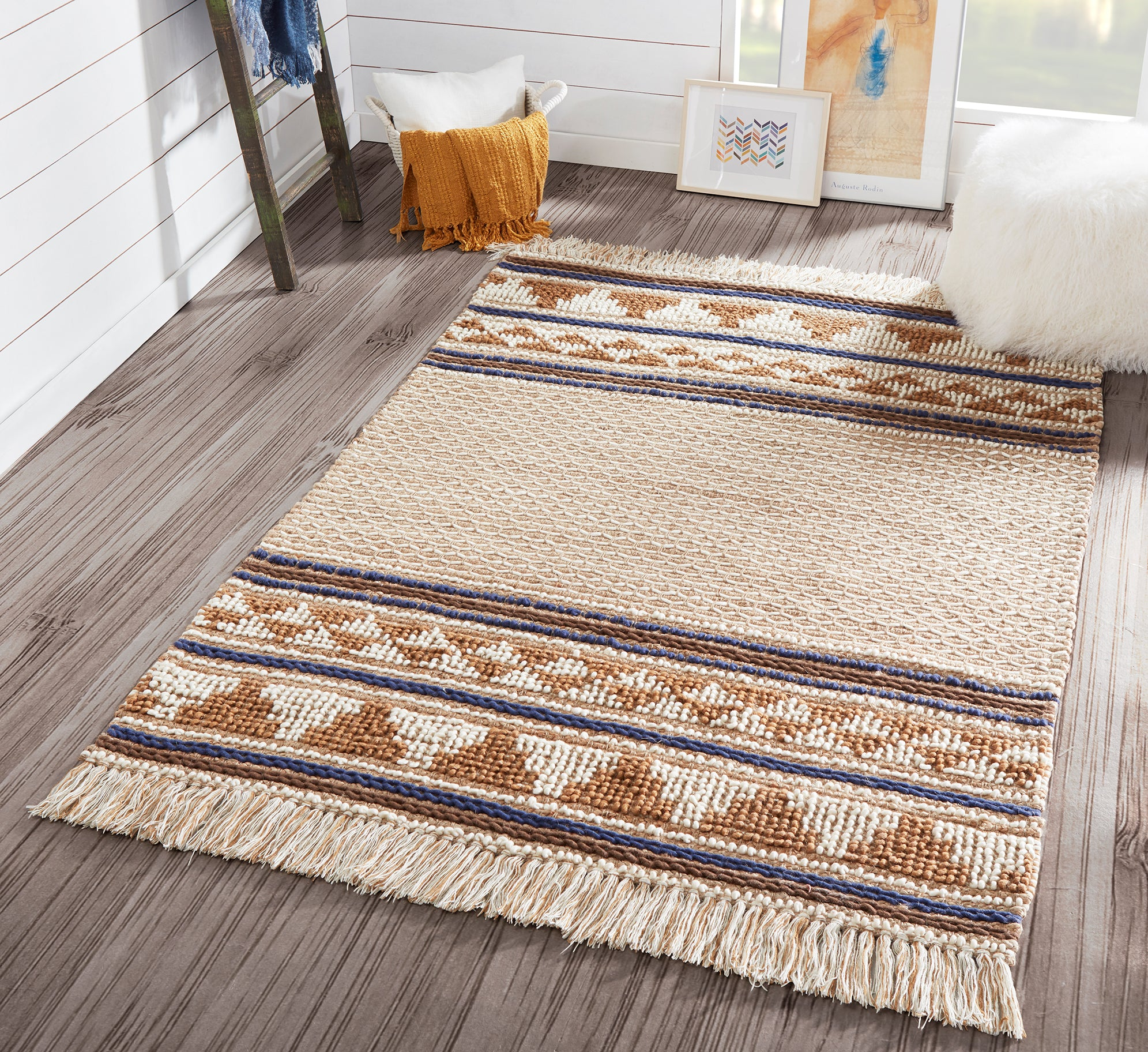 Hand Woven Southwestern Ivory & Tan Area Rug