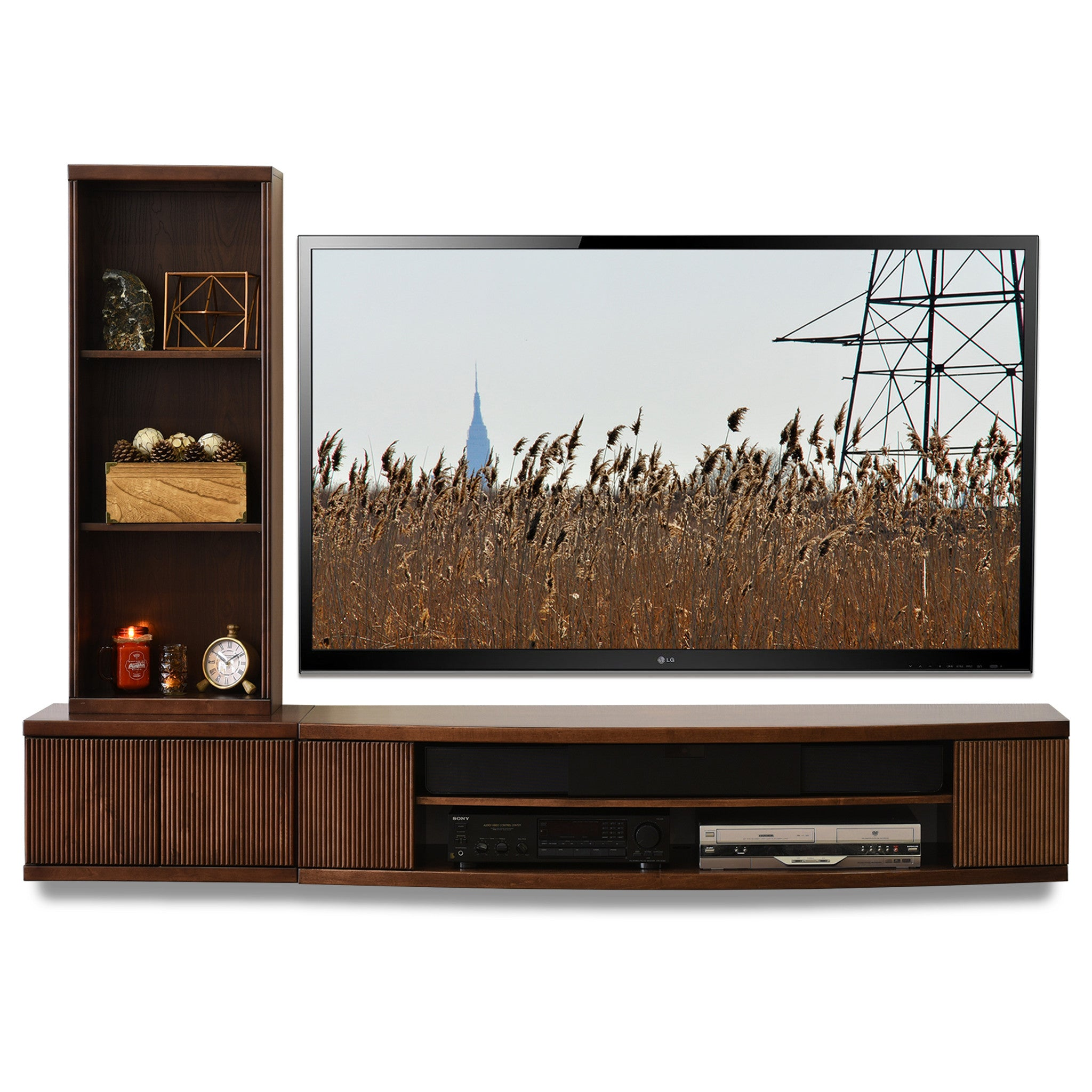 wall mount tv console curve mocha 2 piece bookcase. Black Bedroom Furniture Sets. Home Design Ideas