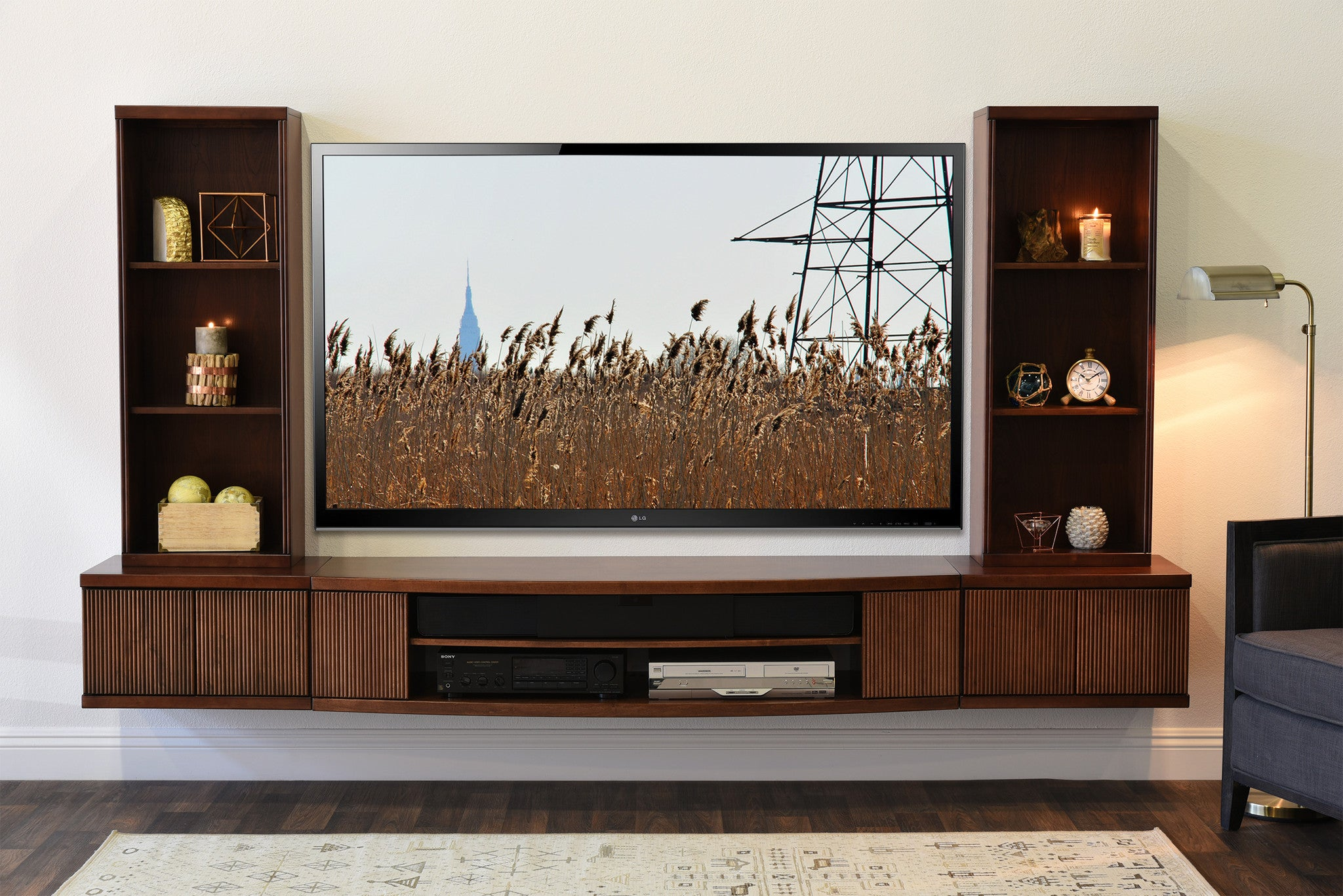 floating tv stand wall mount entertainment center curve. Black Bedroom Furniture Sets. Home Design Ideas
