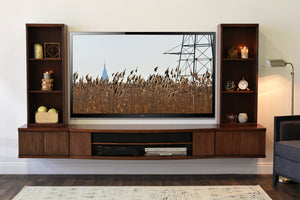 Floating TV Stand Wall Mount Entertainment Center - Curve 5 Piece - Mocha