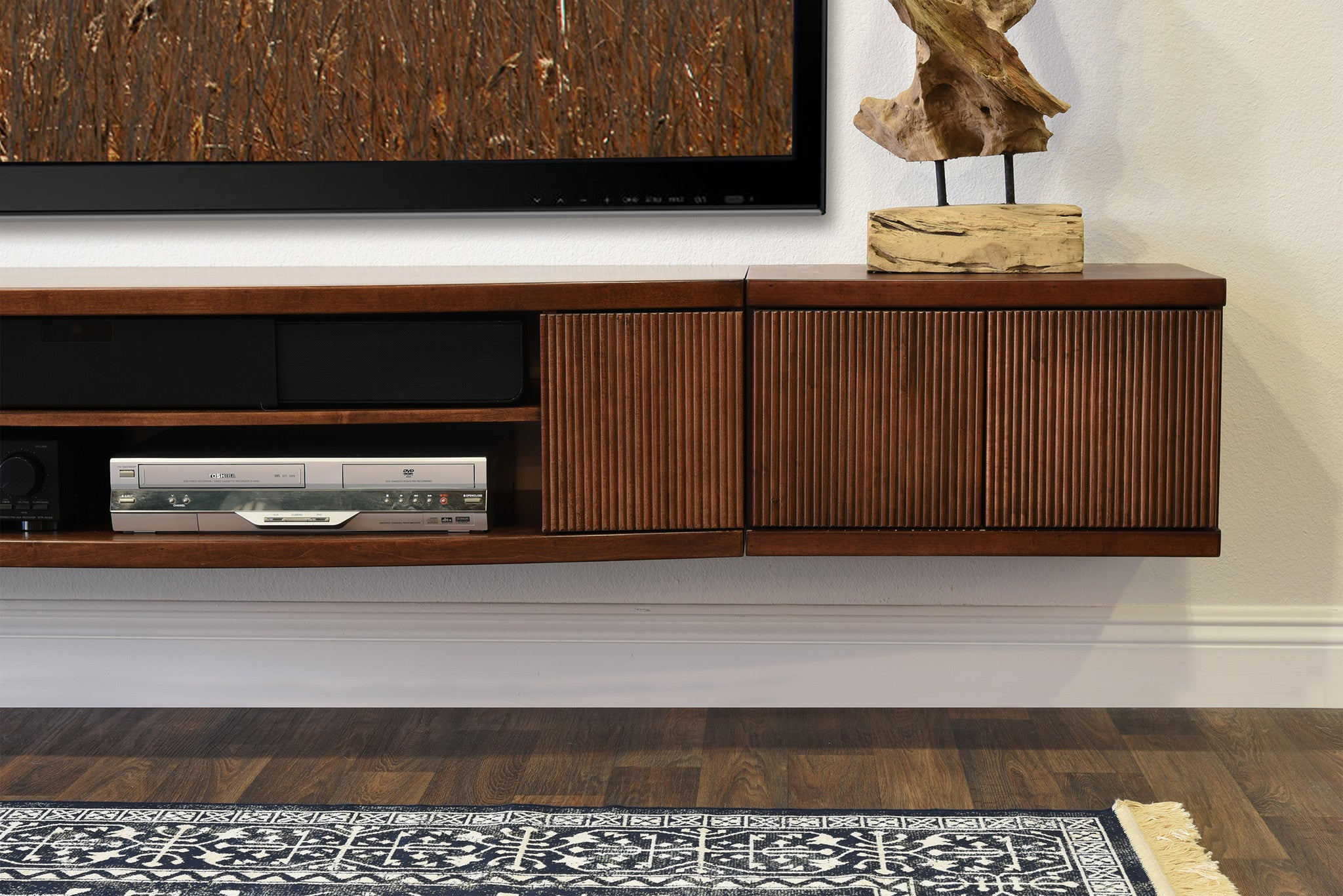 Perfect Floating TV Stand Entertainment Center Console   Curve Mocha   3 Piece +  Bookcase