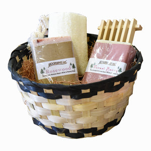 Handmade Women's Spa Gift Basket Bath Set - Goat's Milk Soap Bars - Rosewood and Forest Berry