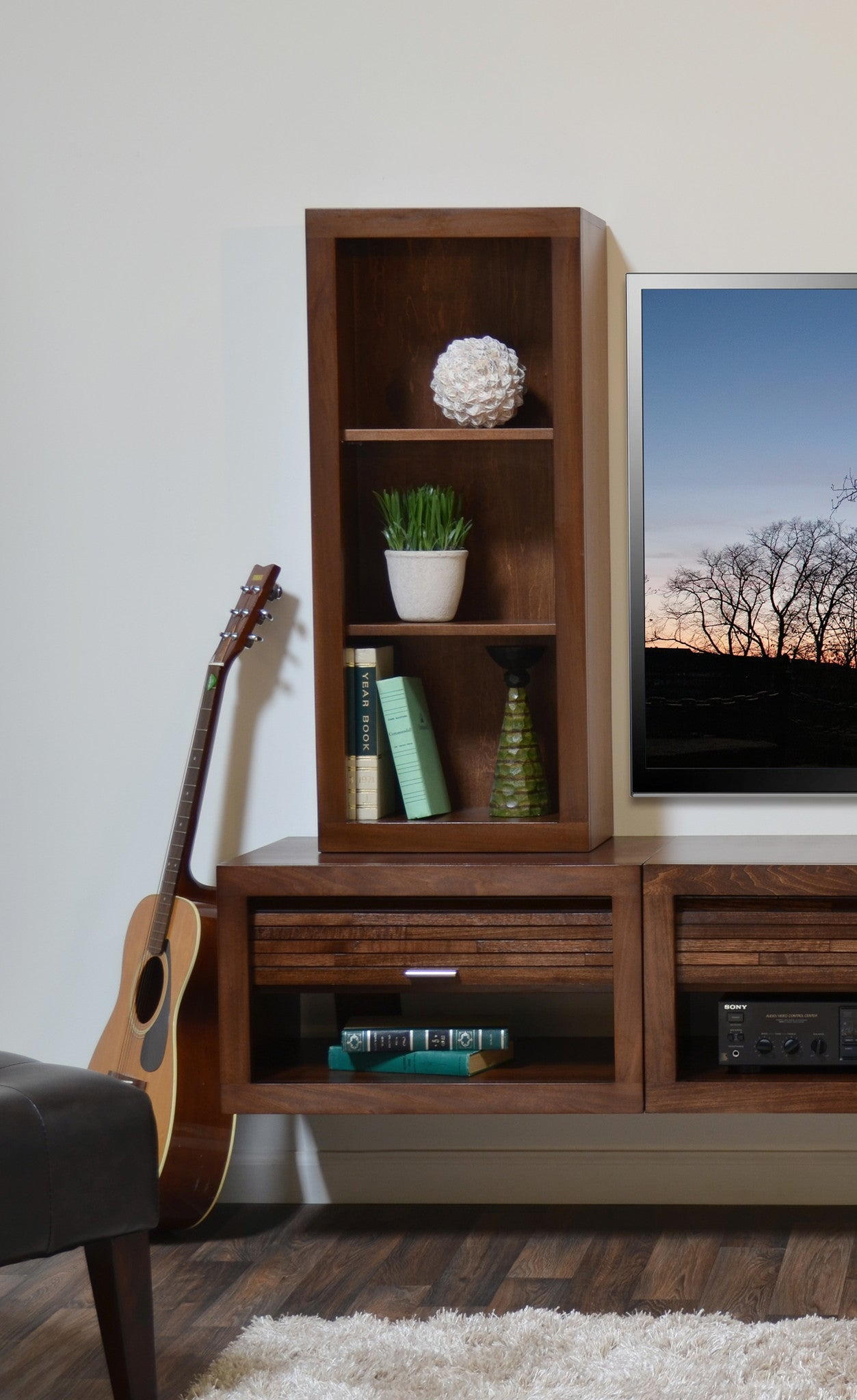 Wall Media Cabinet Wall Mount Audio Media Cabinet Bookcase Eco Geo Mocha Woodwaves