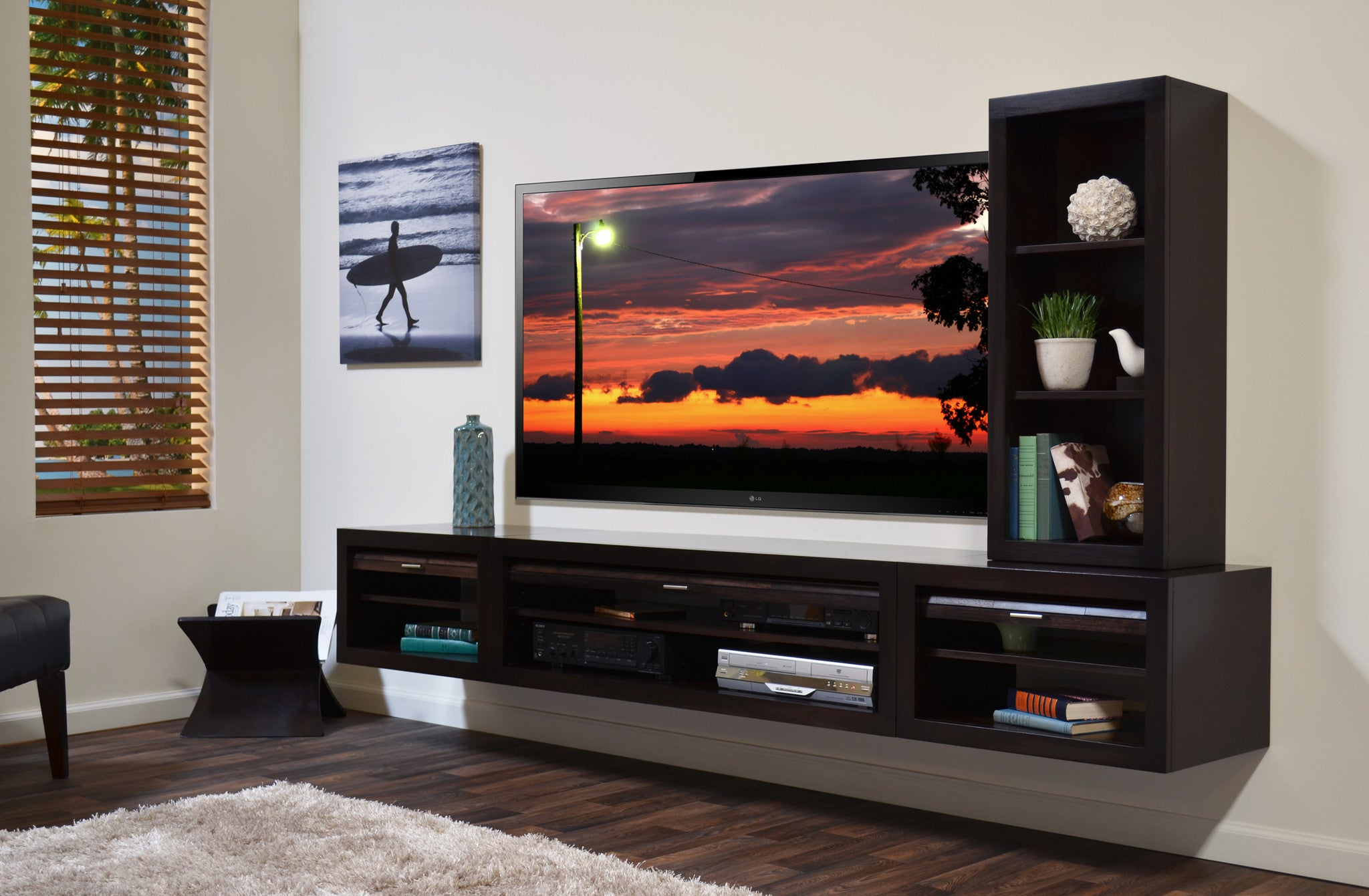 Floating TV Stand Entertainment Console - ECO GEO Espresso ...