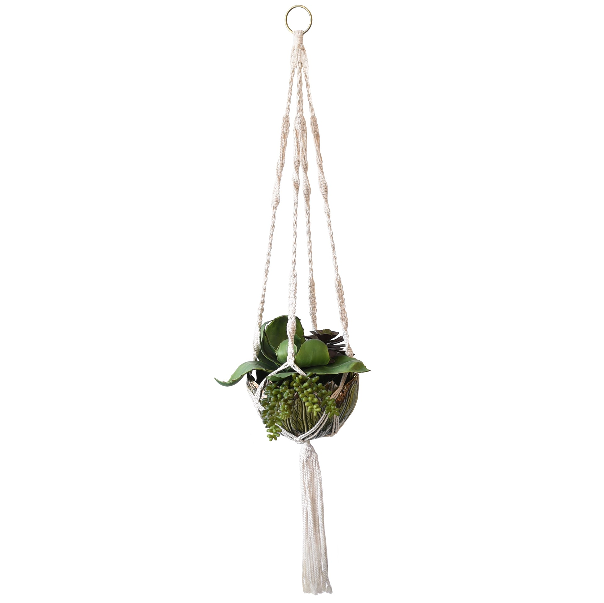 Hanging Modern Boho Macrame Planter With Ceramic Leaf Pot