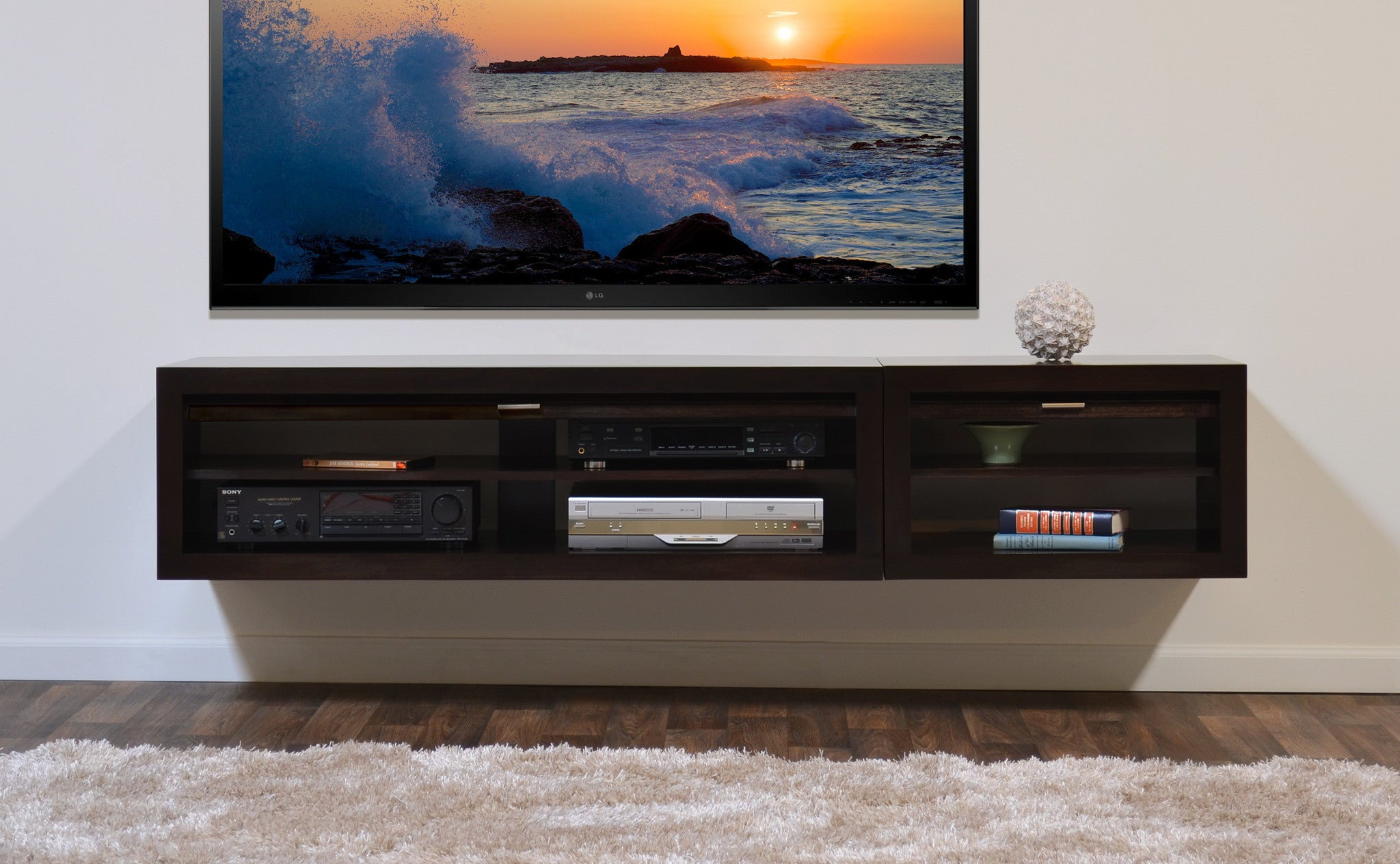 Floating Entertainment Stand Eco Geo Espresso 2pc
