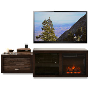 Hanging Wall Mount Fireplace TV Stand - ECO GEO Espresso