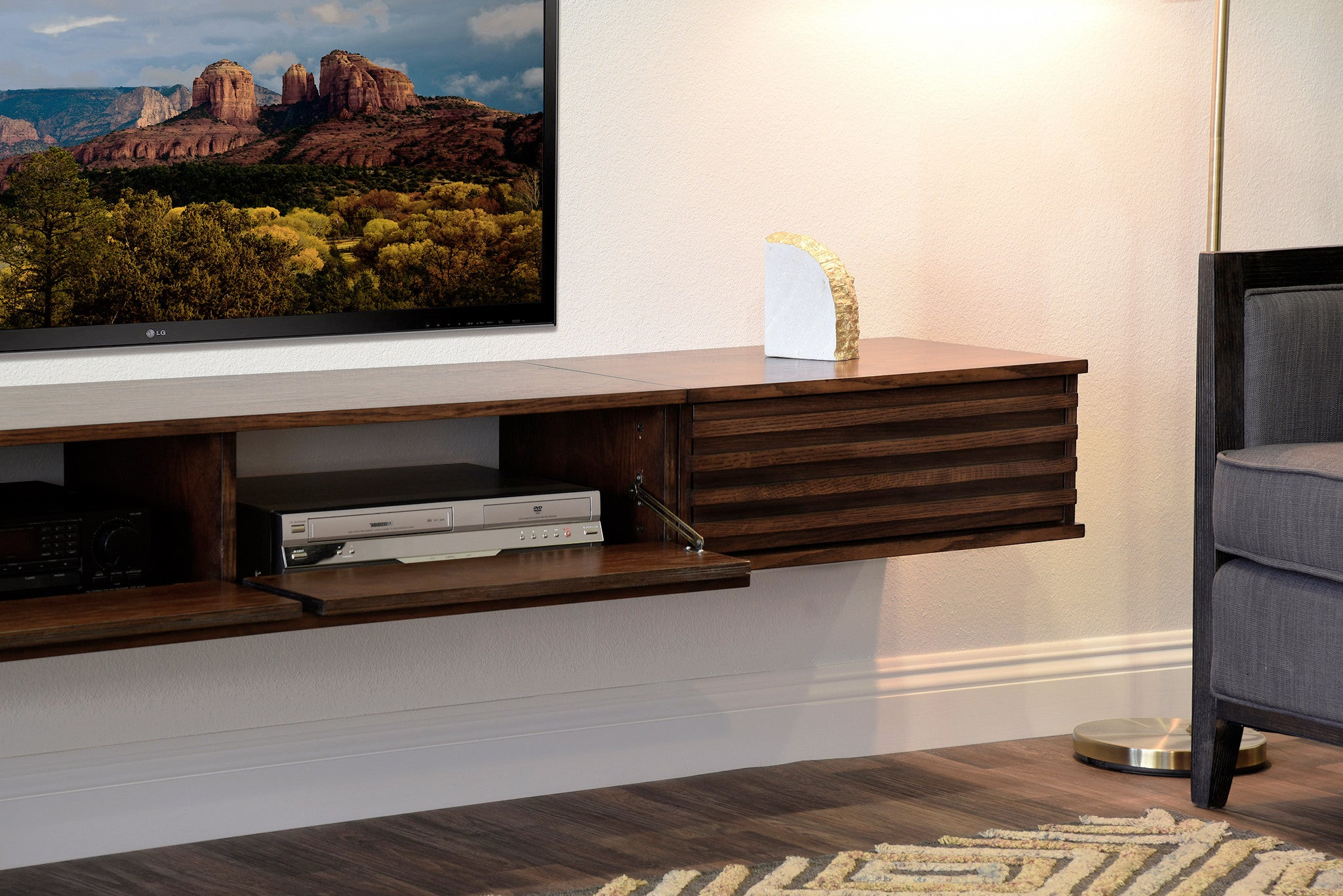 Floating tv stand wall mount entertainment center lotus 3 piece floating tv stand wall mount entertainment center lotus 3 piece russet brown amipublicfo Image collections