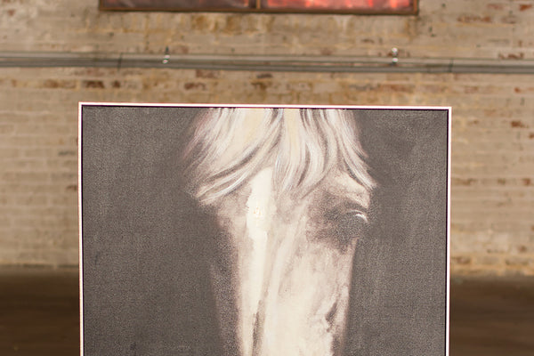 Black And White Horse Face Oil Painting With Silver Frame