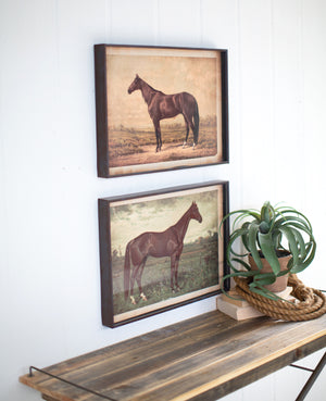 Horse Illustration Equestrian Wall Art Prints in Rustic Metal Frames - Set of 2