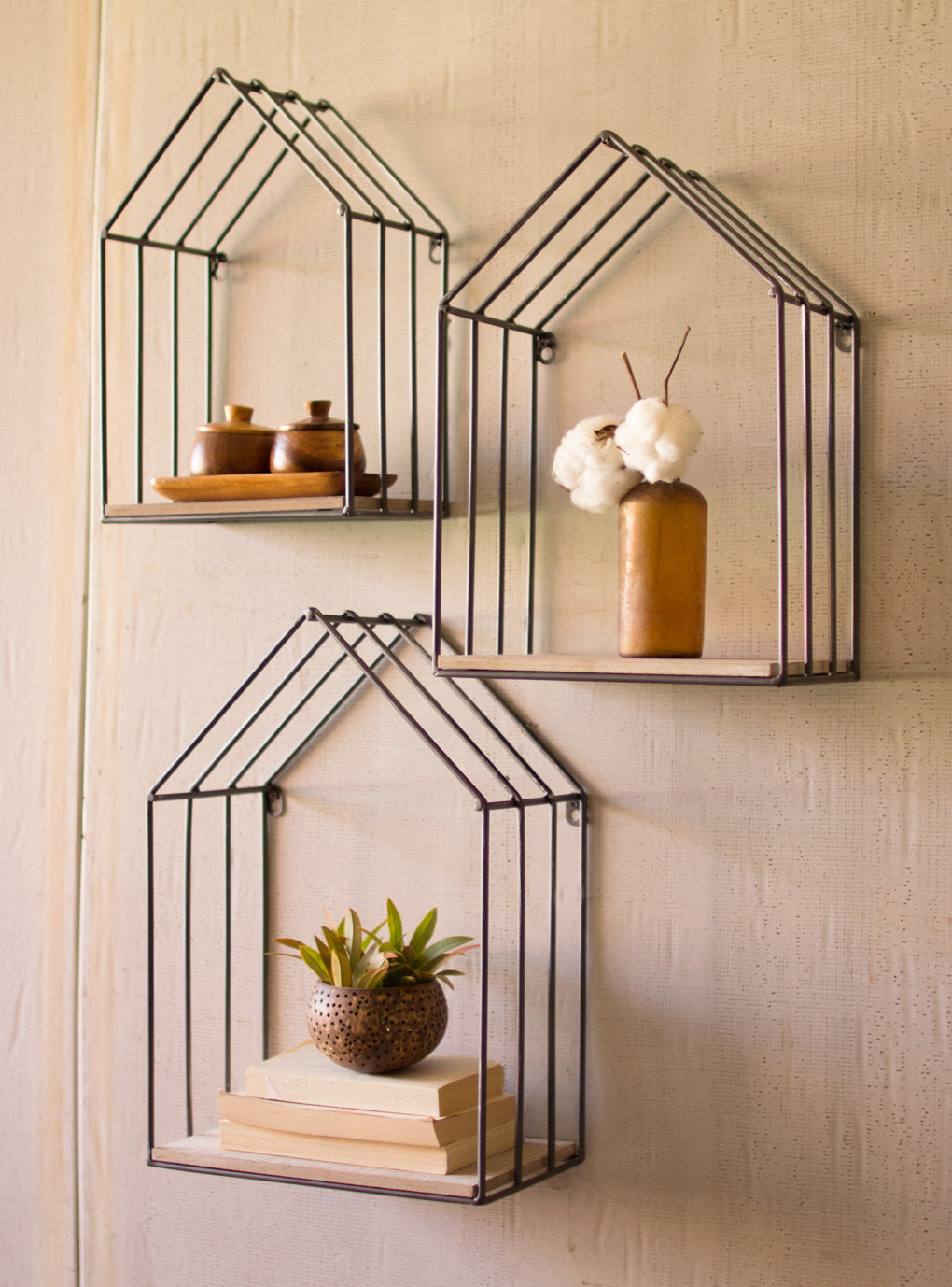 House Shaped Floating Wall Shelves - Set of Three