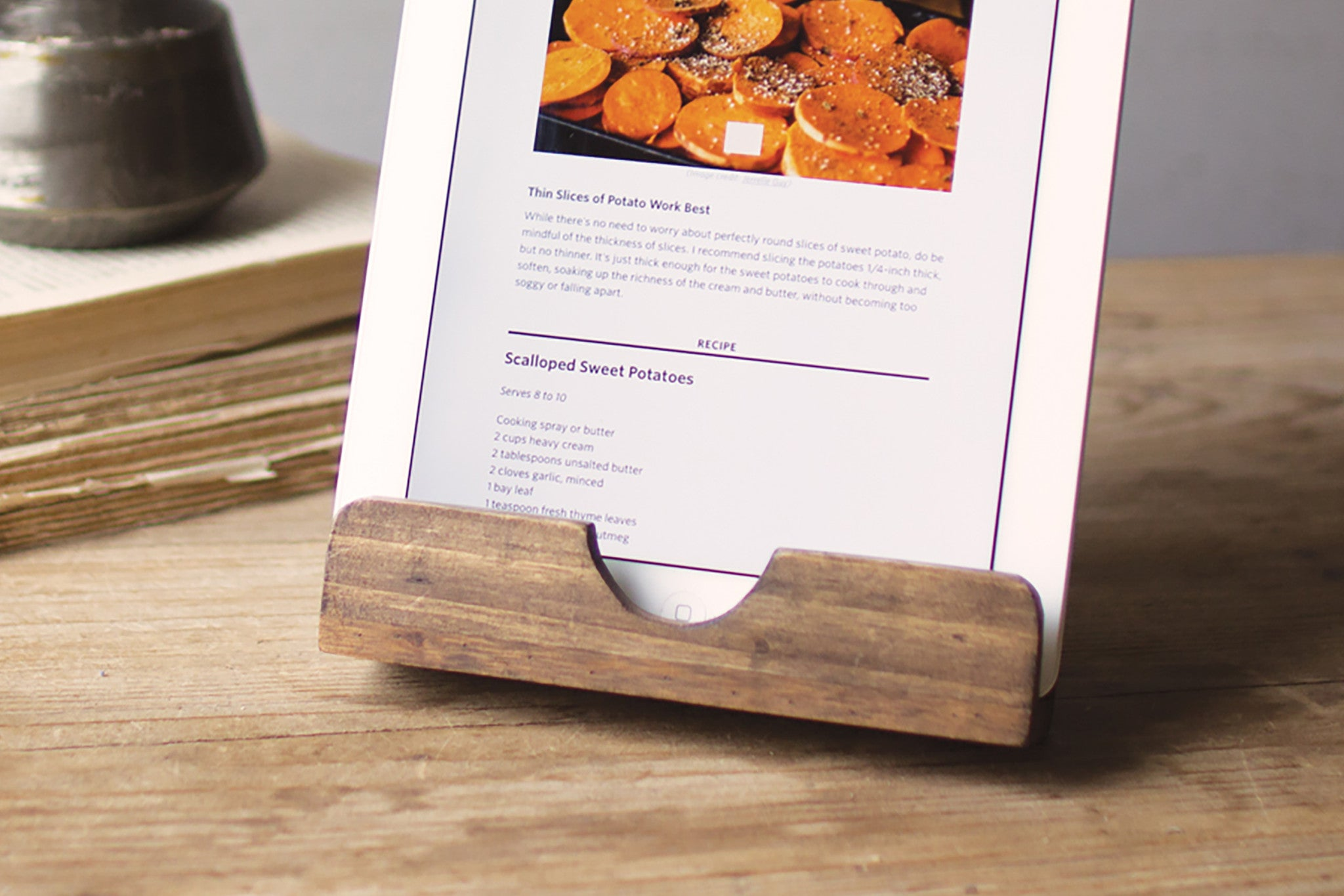 Kitchen IPad Tablet Rustic Wood Recipe Holder