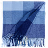 Modern White and Navy Plaid Luxury Soft Alpaca and Sheep Wool Throw Blanket