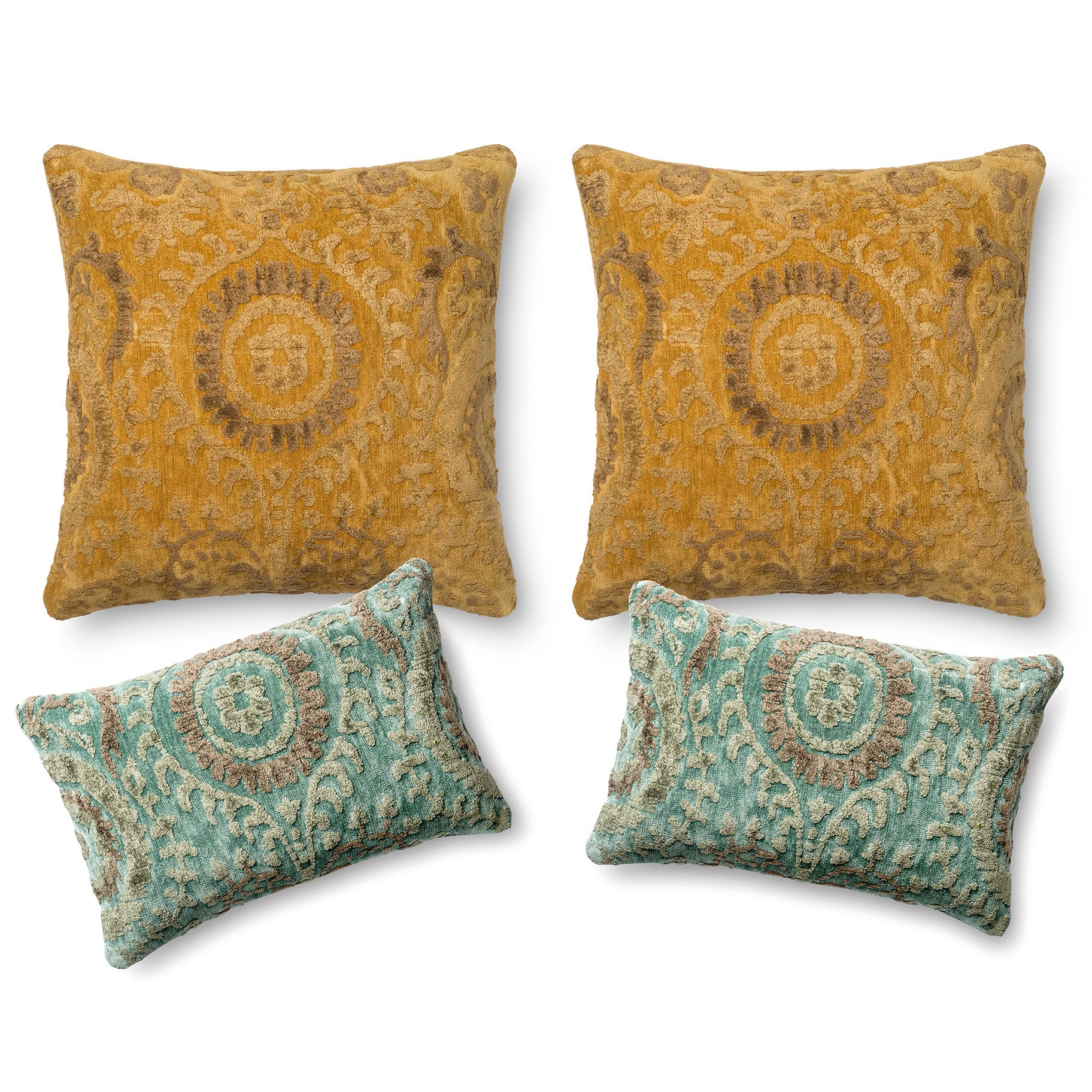Indian Global Style Yellow And Teal Blue Luxury Four Pillow Sofa Set