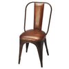 Industrial Modern Leather and Iron Accent Chair