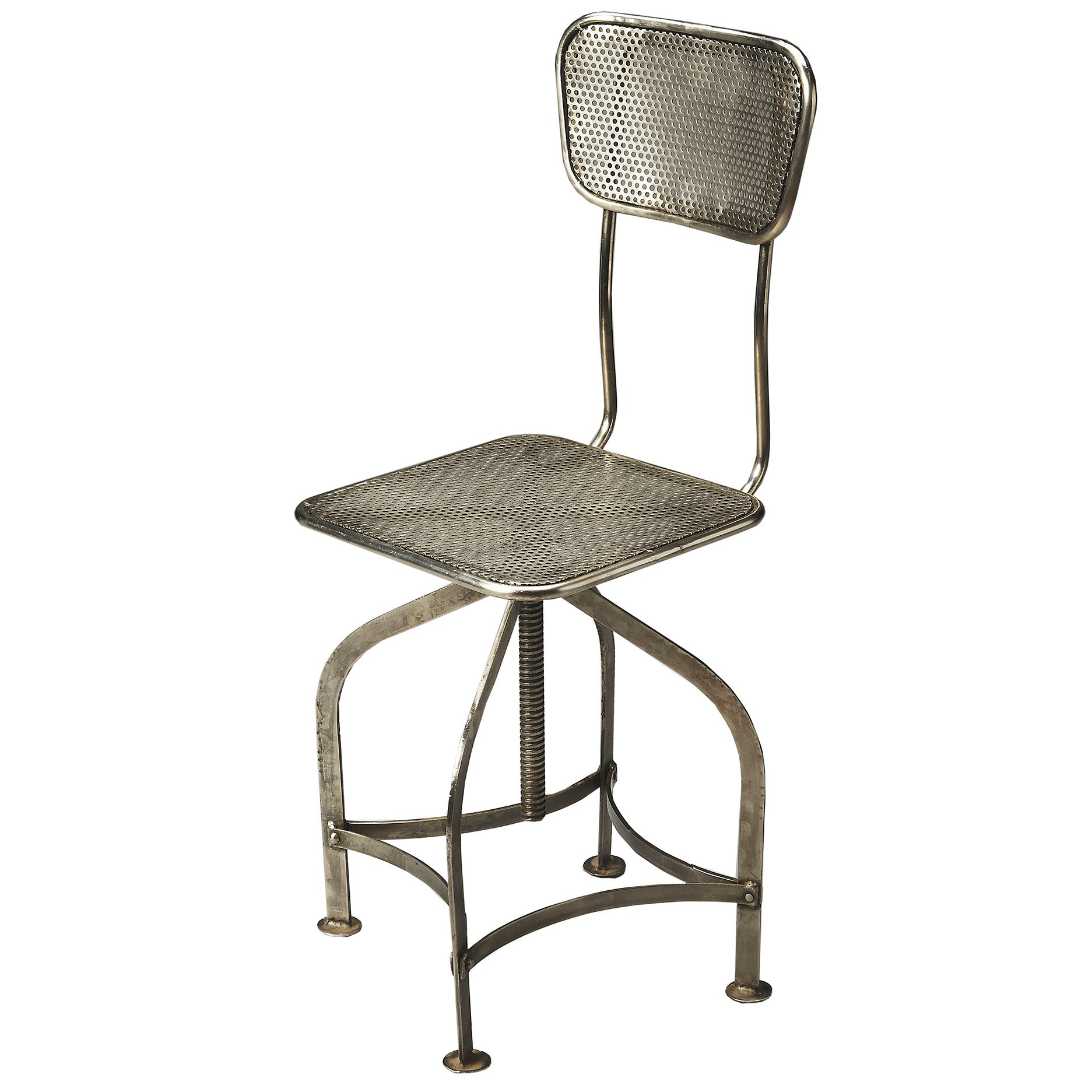 Industrial Modern Metal Swivel Stool With Back