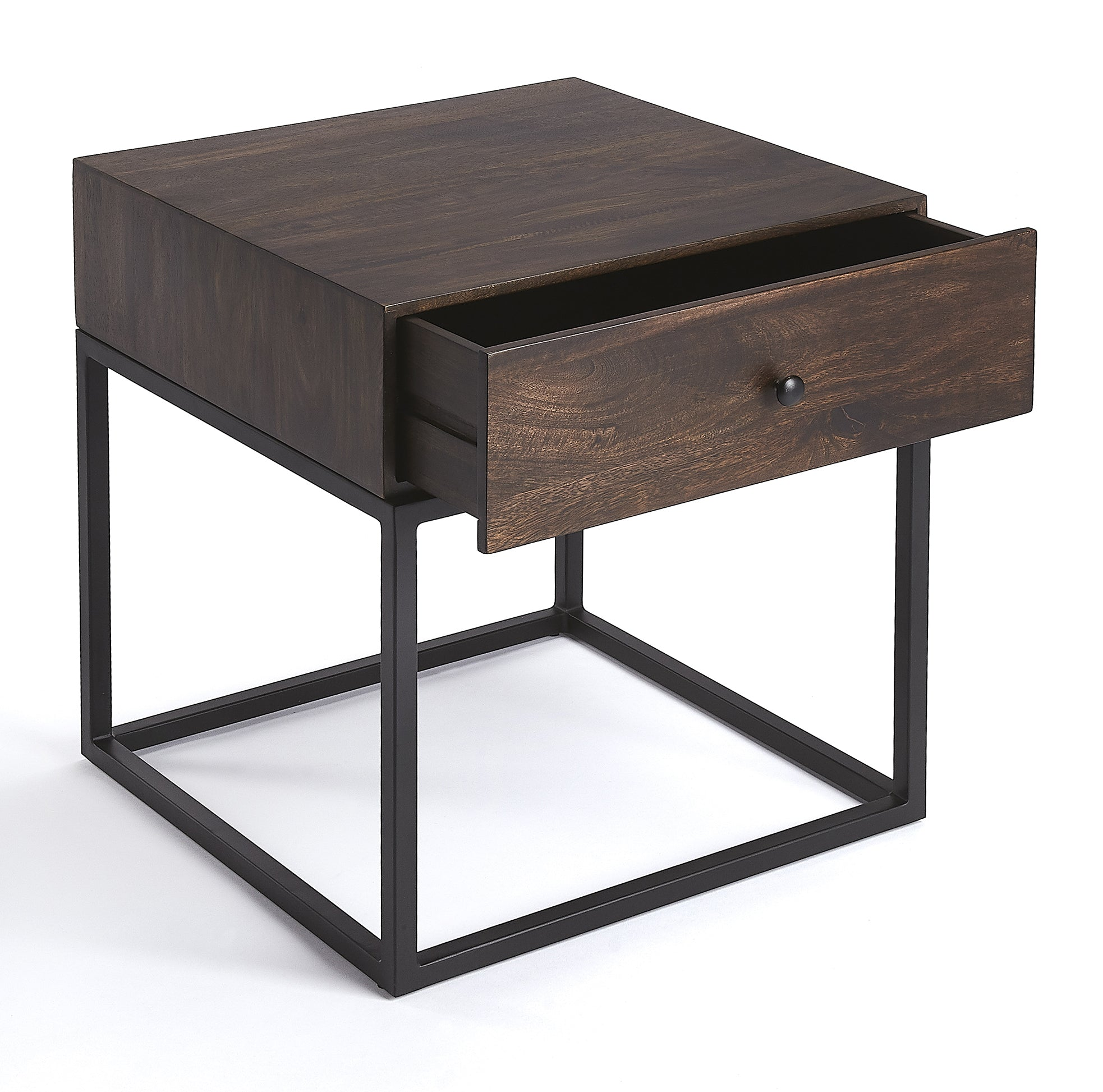 industrial modern iron and dark brown wood nightstand end table