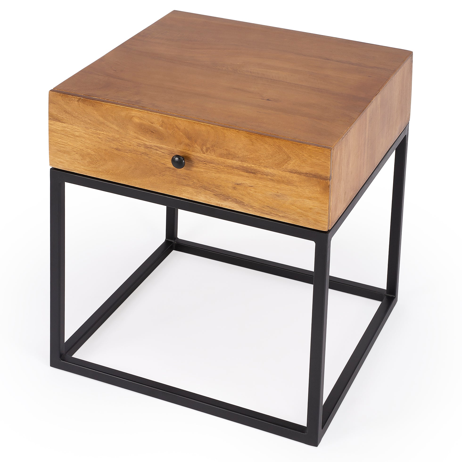 Industrial Modern Iron and Wood Nightstand End Table