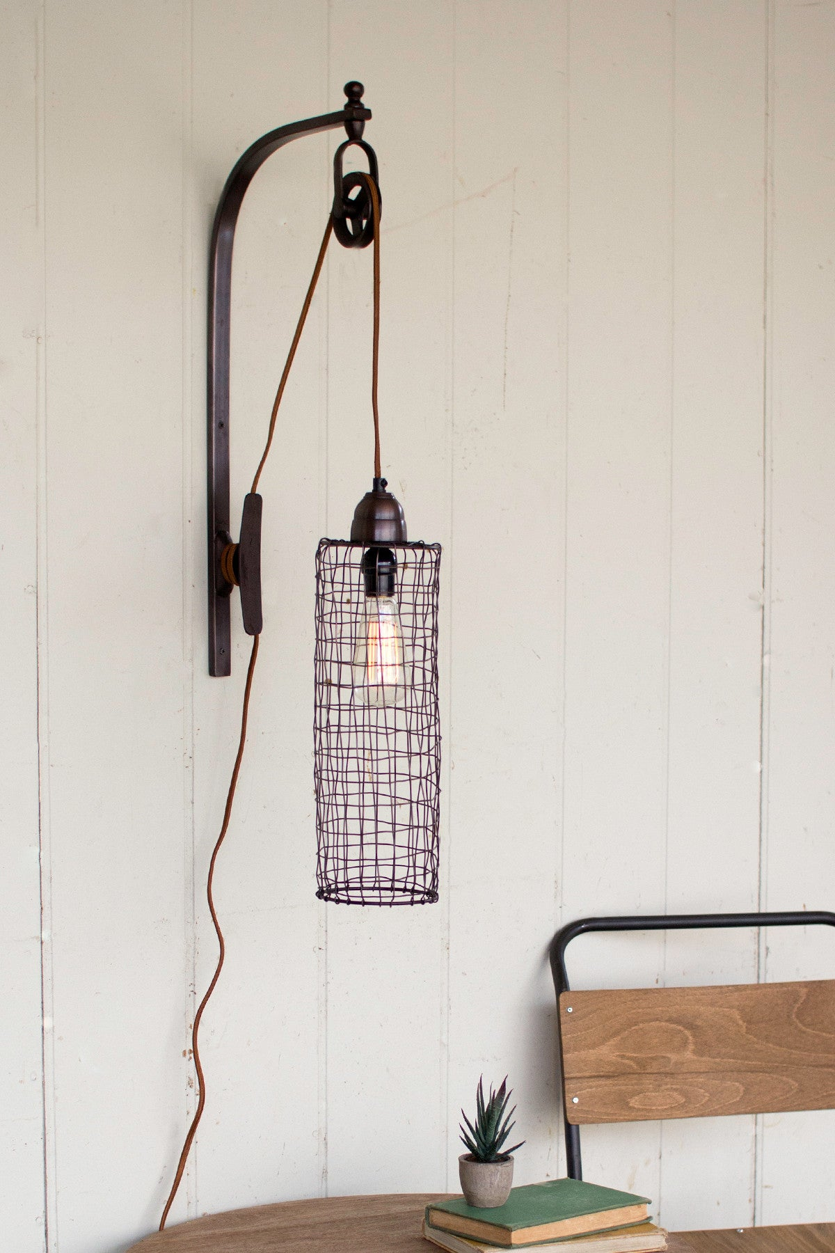 Industrial modern edison cage and pulley plug in wall sconce industrial modern edison cage and pulley plug in wall sconce amipublicfo Gallery