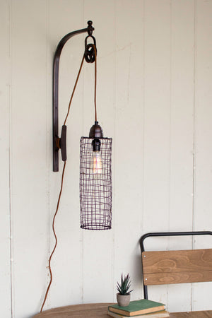 Industrial Modern Edison Cage and Pulley Plug In Wall Sconce